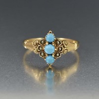Turquoise and Pearl Antique 14K Gold Ring