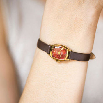 Burgundy face women's wrist watch, gold plated tiny watch Seagull, rectangular lady watch vintage, watch petite, genuine leather strap new