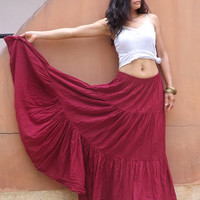 Boho Long Skirt .....Long Skirt ...Color Red