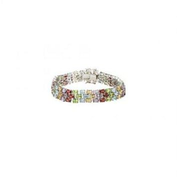 ac NOVQ2A Sterling Silver Prong Set Three Rows Oval Multi Color Gemstone Bracelet with 19.00 CT TGW