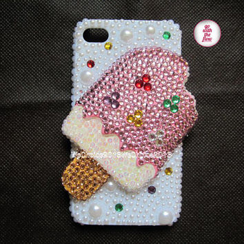 Free Phone Case & Pinky Ice Cream Sparkly Rhinstone Pearl DIY Deco Kit Decoden Kit Cabochon Deco Kit For DIY Cell Phone iPhone 4 4S 5 Case