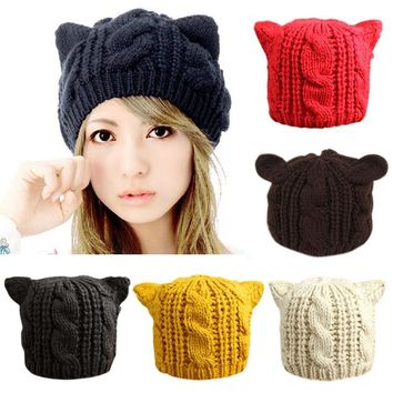 Fashion Girls Funny Knit Hats Women Cat Ears Beanies Winter Warm Cap Bonnet
