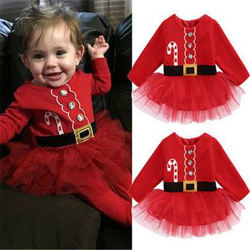 Kids Baby Girl Dresses Baby Girls Fleece Lace Tulle Tutu Dress Party Christmas 2017 New Arrival Hot Baby Girl Xmas Vestidos 0-2T