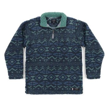 Appalachian Peak Sherpa Pullover in Slate and Mint by Southern Marsh - FINAL SALE