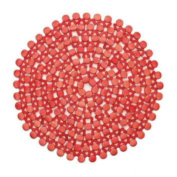Round Bamboo Placemat in Coral - Set of 4
