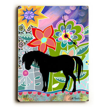 Floral Horse Unique Wall Clock by Artist Beth Nadler