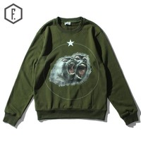 Winter Green Print Long Sleeve Round-neck Hoodies [8822204035]