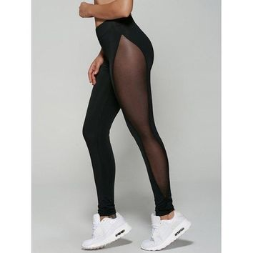 Mesh Patchwork See-Through Leggings - Black