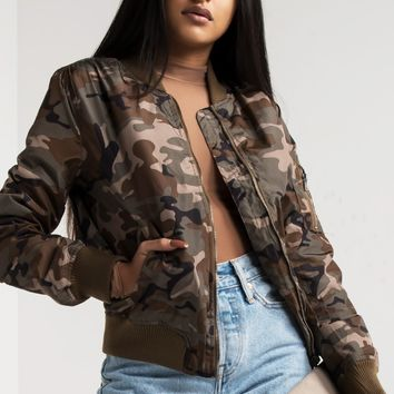 Camo Lightweight Zip Up Army Bomber Jacket in Olive, Black