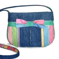 Small Upcycled Denim Jean Purse, Repurposed Pastel Stripe Fabric Bag, Crossbody Purse, Recycled Jean Bag