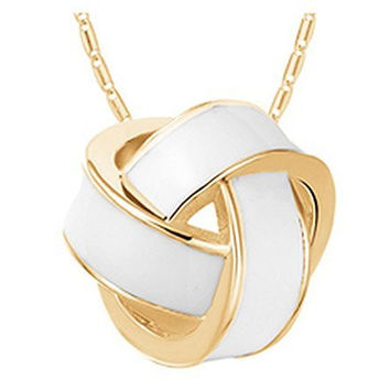 Basket Hill , White and Gold- Look Knot on Necklace
