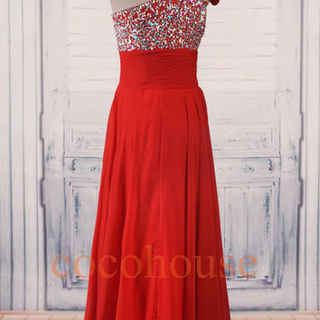Red Crystals One Shoulder Long Prom Dresses ,Evening Dresses with Split ,Party Dresses ,Homecoming Dress,Wedding Party Dresses, Formal Dress