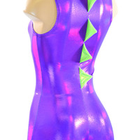 Grape Purple Holographic Sleeveless Dragon Romper with Lime Spikes