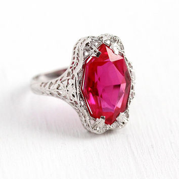 Art Deco Ring - Vintage 10k White Gold Created Ruby Flower Filigree Statement - 1920s Antique Size 6 Fancy Cut A&S Floral 20s Fine Jewelry
