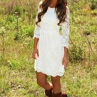 One Sweet Lace Dress: White - Dresses - Hope's Boutique