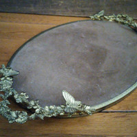 Vintage Gold Toned Butterfly Handled Tray Perfect for Vanity Dresser Bar Display