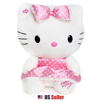 "Sanrio Valentine x Hello Kitty 13"" Plush Toy Doll - Polka Dot Silk Dress with Bow $28.99"