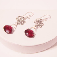 Sophisticated Deep Red Pear-shaped Crystal Earrings with Celtic Dangle