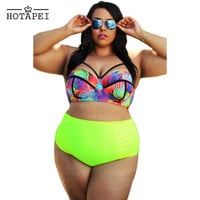 Hotapei Curvy Girl Tropical High Waist Bathing Suit for women LC41712 Large Size Sexy swimsuit 2016 Bikini plus size XXL-XXXXL