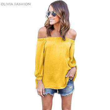Stylish Sexy Off Shoulder Top Blouse Ladies Chiffon Summer Casual Split Long Sleeve Shirt Women Blusas Big Size