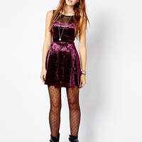 New Look Velvet Skater Dress With Mesh Inserts