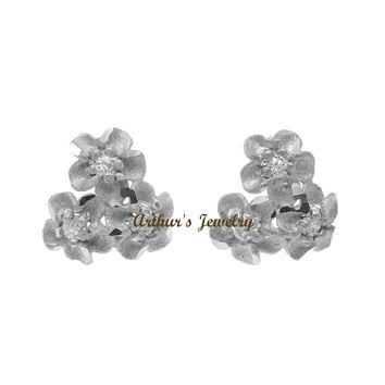 9MM SOLID 14K WHITE GOLD HAWAIIAN DIAMOND CUT PLUMERIA FLOWER POST STUD EARRINGS