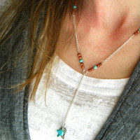 Delicate Silver Necklace, Long Chain Necklace, Turquoise Necklace, Long Beaded Necklace, Necklace, Silver Necklace, Simple Silver Necklace