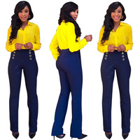 Wear-to-Work Yellow Blouse and Blue Pants