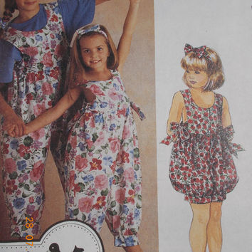 Easy McCalls Jenny Wren Childrens Sewing Pattern Size 7,8,10 Jumpsuit Headband