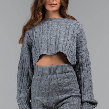 AKIRA Label Cropped Knit Dolman Sweater in Ivory, Heather Grey