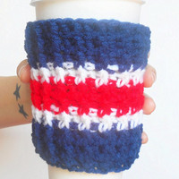 Team Colors Coffee Cozy in Navy, Red and White, ready to ship.