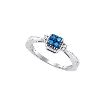 10k White Gold Blue Colored Round Diamond Womens Simple Cluster Band Ring 1/6 Cttw