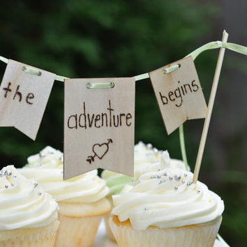 "Rustic wedding cake topper, ""the adventure begins"", lake wedding topper, mountain wedding, adventurer, hiking wedding"