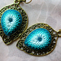 Ocean Blue Turquoise Emerald Green Snow Blue Earrings by Lena Handmade Jewelry Christmas gift Winter Embroidery Applique