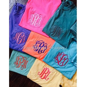 Comfort Colors Short Sleeve Monogrammed Pocket Tee