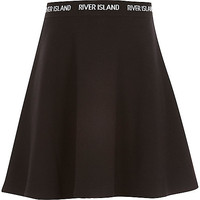 River Island Girls black RI waistband skater skirt