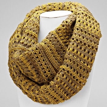 Cable Knitted Infinity Mustard Scarf