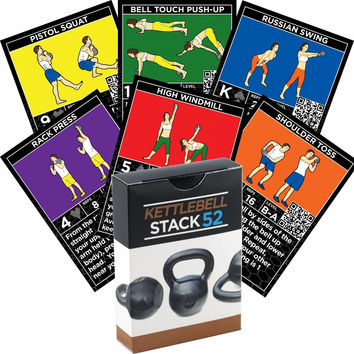 Kettlebell Exercise Cards by Strength Stack 52. Kettlebell Workout Playing Ca...