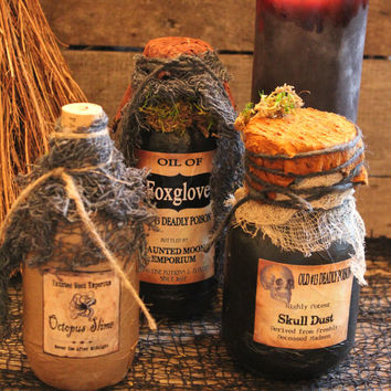"Halloween Potion Bottle Set, ""Oil of Foxglove"" ~ ""Old #13 Skull Dust"" ~ ""Octopus Slime"", One-Of-A-Kind Halloween Decoration, Prop, Handmade"