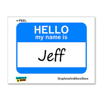 Jeff Hello My Name Is Sticker