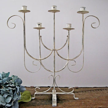Wrought Iron Candelabra Candle Holder Farmhouse Antique White Wedding Table Decor