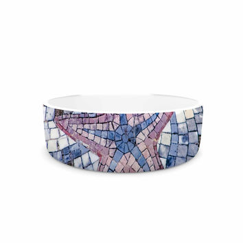 "Debbra Obertanec ""Mosaic Starfish"" Nautical Blue Pet Bowl"