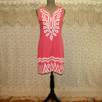 Womens Summer Dress Sleeveless Cotton Shift Midi India Bohemian Coral Pink & White Embroidered Applique Casual Dress Small Womens Clothing