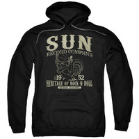 SUN RECORDS/ROCKABILLY BIRD-ADULT PULL-OVER HOODIE-BLACK