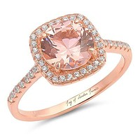 14K Rose Gold 3.2CT Round Cut Pink Morganite Russian Lab Diamond Halo Ring