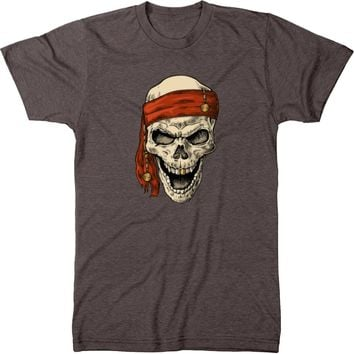 Gold Toothed Pirate Skull Men's Modern Fit Tri-Blend T-Shirt