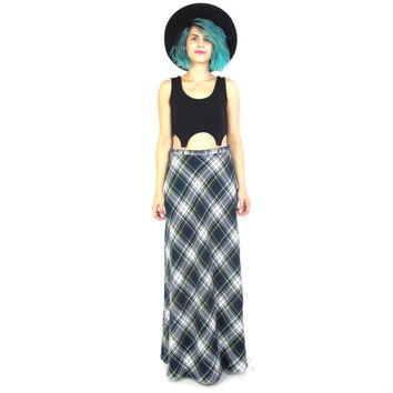 70s Plaid Maxi Skirt Vintage Wool Tartan High Waist Skirt Scottish Preppy Chic Maxi Skirt (M)
