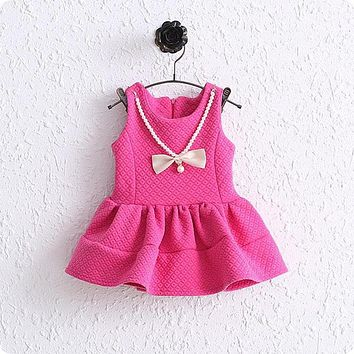 vestidos roupas de bebe Autumn Baby Girls Sleeveless O Neck Tutu Sundress Princess Party Kids Dress with Pearl Bow Necklace