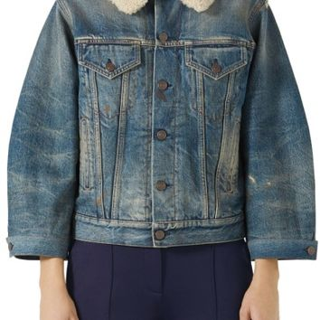 Gucci Print Back Denim Jacket with Genuine Shearling Trim | Nordstrom