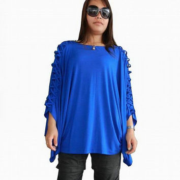 NEW Design  Plus size Blouse Unique Styling Poncho, Jersey Spandex in Cobalt Blue